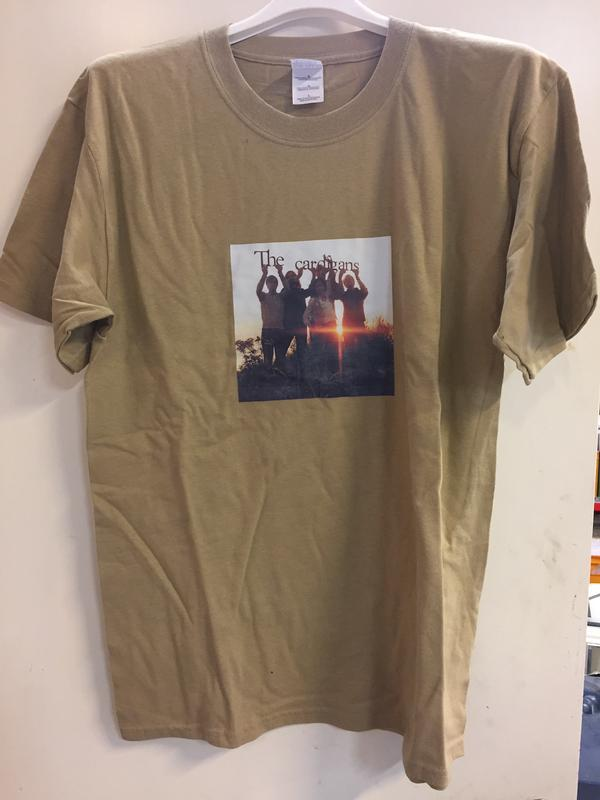 BAND PHOTO  Large, Light Brown t-shirt with colour picture on front