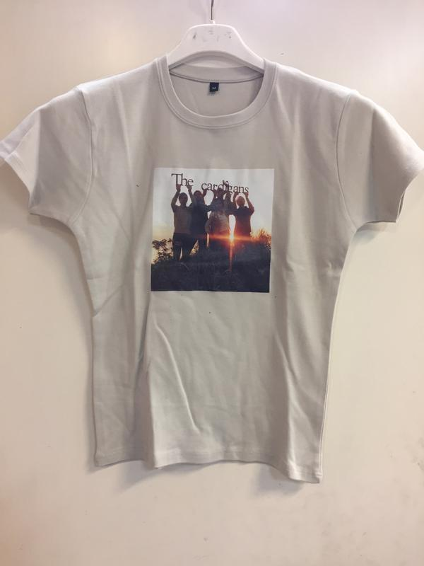 BAND PHOTO  Medium, grey tight Girlie-shirt with colour picture on front