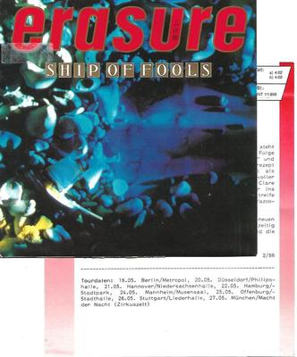 "ERASURE - SHIP OF FOOLS / WHEN I NEEDED YOU German ps, review copy with promo/infosheet! (7"")"