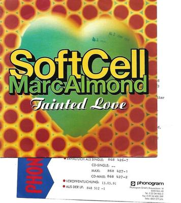 "SOFT CELL - TAINTED LOVE '91 / WHERE THE HEART IS German ps, review copy with promo/infosheet! (7"")"