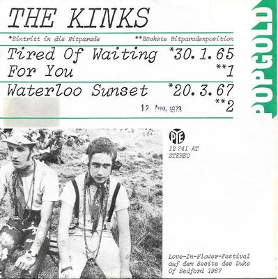 "KINKS, THE - TIRED OF WAITING FOR YOU / WATERLOO SUNSET German ps (7"")"