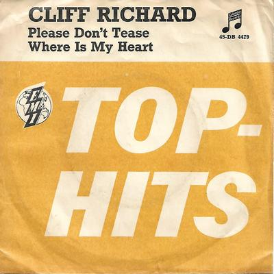 "RICHARD, CLIFF - PLEASE DON'T TEASE / WHERE IS MY HEART Norwegian yellow/splattered vinyl, ps (7"")"