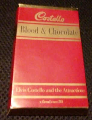 "COSTELLO, ELVIS AND THE ATTRACTIONS - BLOOD & CHOCOLATE Rare UK withdrawn ""Cadburys Bar"" cassette edition! (CAS)"