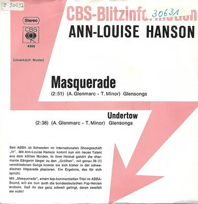 "HANSON, ANN-LOUISE - MASQUERADE / UNDERTOW Rare German promotional edition, special title sleeve (7"")"