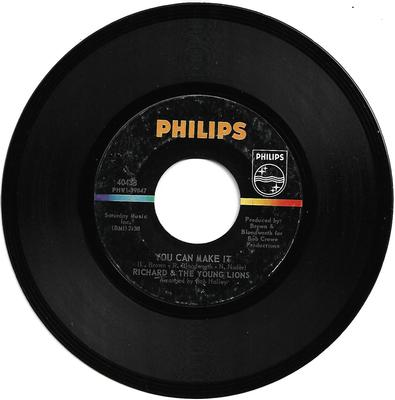 "RICHARD & THE YOUNG LIONS - YOU CAN MAKE IT / TO HAVE AND TO HOLD Rare U.S. 1967 Garage (7"")"