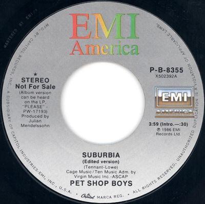 "PET SHOP BOYS - SUBURBIA U.S. promo (7"")"