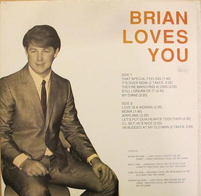 WILSON, BRIAN - BRIAN LOVES YOU Rare 1987 compilation, studio outtakes from the early 70:s (LP)