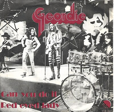 "GEORDIE - CAN YOU DO IT / RED EYED LADY Danish ps, red titles on front. Brian Johnson, pre-AC/DC (7"")"