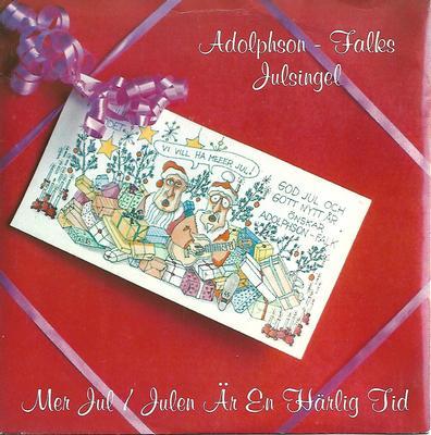"""ADOLPHSON-FALK - MER JUL / JULEN ÄR EN HÄRLIG TID Swedish classic, 1984, Red vinyl (7"""")"""