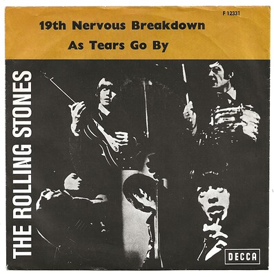 "ROLLING STONES, THE - 19th NERVOUS BREAKDOWN/AS TEARS GO BY Scandinavian, ps (7"")"