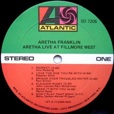 LIVE AT FILLMORE WEST US Pressing