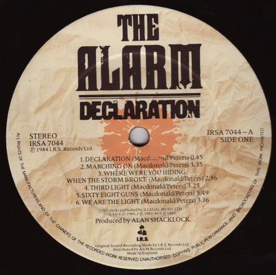 DECLARATION UK Pressing - Comes With Printed Innersleeve