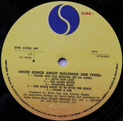 MORE SONGS ABOUT BUILDINGS AND FOOD Portugese Pressing
