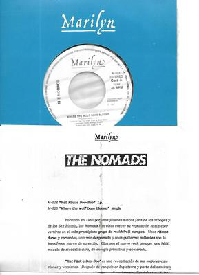 """NOMADS, THE - WHERE THE WOLF BANE BLOOMS Rare Spanish 1-sided promo edition, with infosheet! (7"""")"""